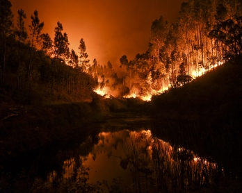 A wildfire is reflected in a stream at Penela, Coimbra, central Portugal, on June 18, 2017.