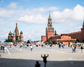 A picture taken with a tilt and shift lens shows Saint Basil's cathedral and the Kremlin in Moscow's Red Square on July 9, 2017. / AFP PHOTO / Mladen ANTONOV