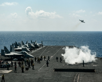 An F18 Hornet fighter jet takes off from the 330 meters navy aircraft carrier USS Harry S. Truman in the eastern Mediterranean Sea on May 8, 2018.