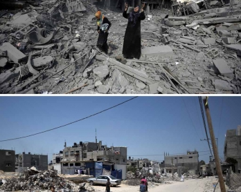 Destroyed buildings in the northern district of Beit Hanun in the Gaza Strip on July 26, 2014, and the same place