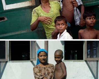 Rohingya migrant Ronji, 21, and her six-year-old son on a boat drifting off Thailand on May 14, 2015 and at a camp in Indonesia's Aceh province on May 24, 2015