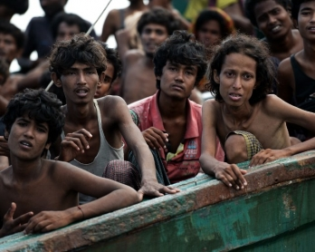 Rohingya migrants adrift in the Andaman Sea, off the southern Thai island of Koh Lipe, on May 14, 2015